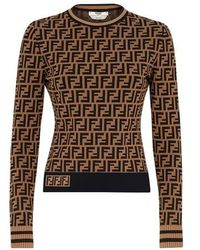 Fendi Ff Motif Sweater - Brown