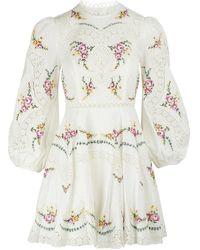 Zimmermann Kleid aus Mischleinen Allia - Weiß