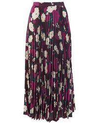 Erdem Nesrine Floral-print Satin Midi Skirt - Purple