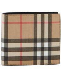 Burberry Vintage Check E-canvas International Bifold Wallet - Natural