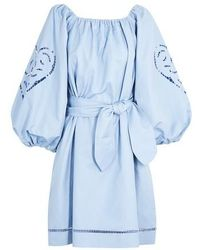 Patou Embroidered Dress - Blue