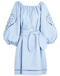 Patou Robe brodée - Bleu
