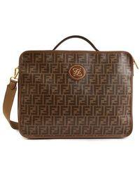 Fendi Mania Monogrammed Shoulder Strap Travel Bag - Brown