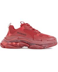 Balenciaga Triple S Clear Sole Sneakers - Red