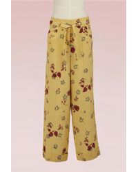 Valentino - Flower Printed Silk Pants - Lyst