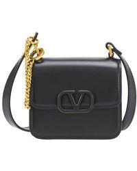 Valentino Micro Vsling Shiny Calfskin Shoulder Bag - Black