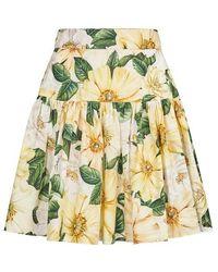 Dolce & Gabbana Camelia Short Skirt - Yellow