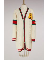 Gucci | Embroidered Chunky Cable Knit Cardigan | Lyst