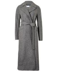 Harris Wharf London Manteau long en laine pressée - Gris