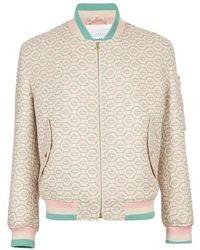 CASABLANCA Wool Monogram Bomber Jacket - Pink