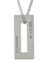 Le Gramme Necklace Rectangle Le 1,5g Silver 925 Slick Brushed - Metallic