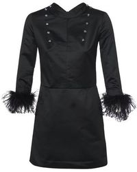 Patou Feather-embellished Dress - Black