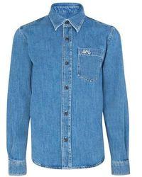 AMI Ami Denim Overshirt - Blue