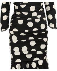 Dolce & Gabbana Polka Dot Print Off The Shoulder Ruched Midi Dress - Black
