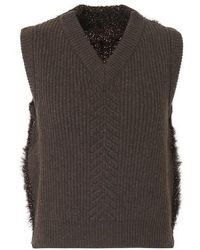 Maison Margiela Knitted Vest - Brown