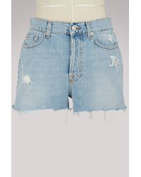 7 For All Mankind - High-waisted Shorts - Lyst