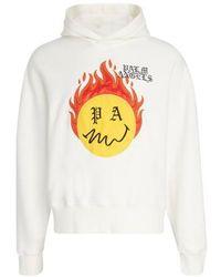 Palm Angels Hoodie Burning Head - Blanc