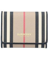 Burberry Petit portefeuille à rabat en toile écologique à rayures iconiques - Neutre