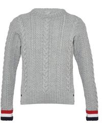 Thom Browne Aran Cable Merino Wool Sweatshirt - Grey