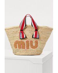 Miu Miu - Straw Beach Bag - Lyst