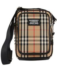 Burberry Vintage Check And Leather Crossbody Bag - Multicolor