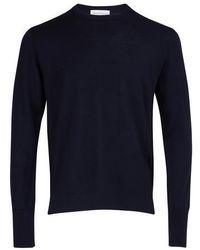 Officine Generale Virgin Wool Sweatshirt - Blue