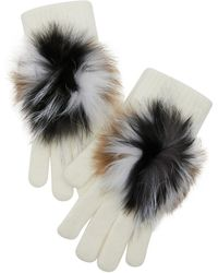 Yves Salomon Gloves With Fur - Black
