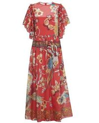 RED Valentino Long Bird Dress - Red