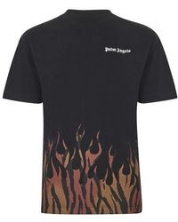 Palm Angels Tiger-flame-print Cotton-jersey Top - Black