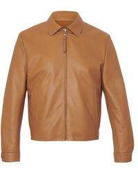 Loewe Leather Jacket With Zip - Brown