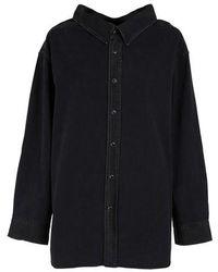 Balenciaga Swing Collar Denim Shirt - Black