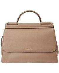 Dolce & Gabbana Medium Calfskin Sicily Soft Bag - Natural