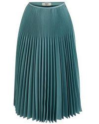 Fendi Pleated Midi Skirt - Blue