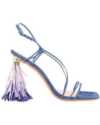 Jacquemus Raffia Sandals With Heels - Blue