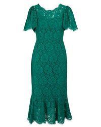 Dolce & Gabbana Jupe florale en guipure de coton mélangé - Vert