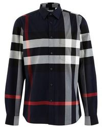 Burberry Hemd aus Stretchbaumwollpopelin mit Karomuster - Blau