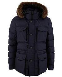 Moncler Augert Down Filled Fur Hooded Jacket - Blue
