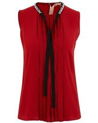 N°21 Pleated Blouse - Red