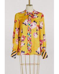 MSGM - Satin Flowers Printed Shirt - Lyst