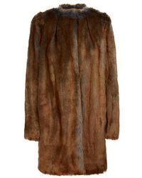 Dries Van Noten Manteau en fausse fourrure - Marron