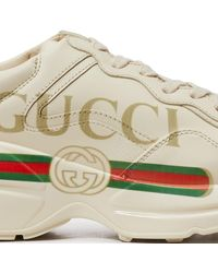 Gucci Rhyton Logo Leather Sneakers - White
