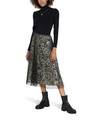 RED Valentino Animal Print And Lace Long Skirt - Black
