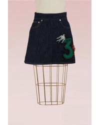 Miu Miu - Denim Skirt With Embroidered Number - Lyst