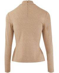 Burberry Rollneck Top In Stretch Jersey - Natural