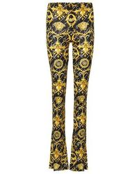 Versace Barocco Printed Flared Trousers - Yellow