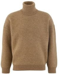 Celine Double-faced Virgin Wool And Cashmere Roll-neck Sweater - Natural