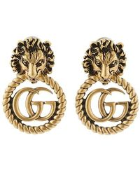 Gucci - GG Marmont Lion Earrings - Lyst