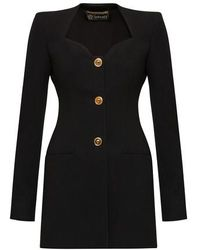 Versace Buttoned Long Sleeves Short Dress - Black
