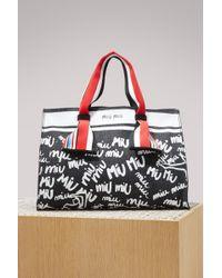 Miu Miu - Denim Logo Tote Bag - Lyst