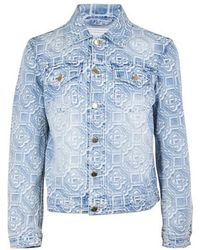 CASABLANCA Jacquard Logo Denim Jacket - Blue